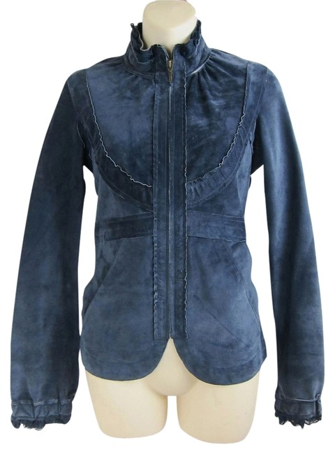 Anthropologie Ruffles Lace Suede blue Leather Jacket