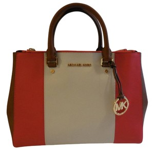 Michael Kors Tote in Mandarin, White and Tan