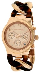 Michael Kors Michael Kors Runway Rose Gold-tone Tortoise Twist Chain Link Ladies Watch MK4269