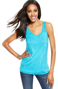 INC International Concepts Embellished Studded Silver Hardware Sheer Mesh Top Blue