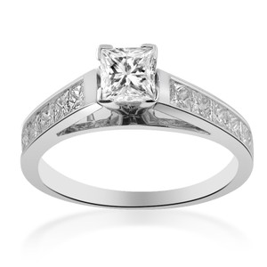 Avital & Co Jewelry 1.25 Carat F-si1 Princess Cut Diamond Engagement Ring 18k White Gold