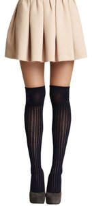 NEW! French Curve Buttoned Ribbed Knit Over-the-Knee Socks, Navy