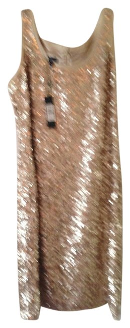 Talbots Gold Sequined Mid-length Cocktail Dress Size 6 (S) Talbots Gold Sequined Mid-length Cocktail Dress Size 6 (S) Image 1