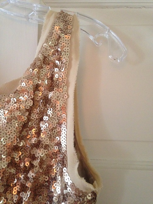 Talbots Gold Sequined Mid-length Cocktail Dress Size 6 (S) Talbots Gold Sequined Mid-length Cocktail Dress Size 6 (S) Image 2