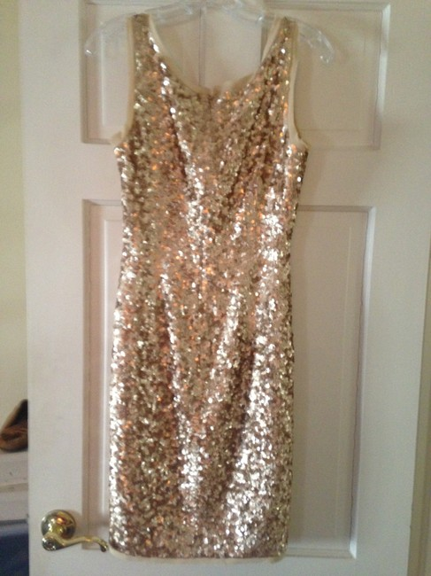 Talbots Gold Sequined Mid-length Cocktail Dress Size 6 (S) Talbots Gold Sequined Mid-length Cocktail Dress Size 6 (S) Image 4
