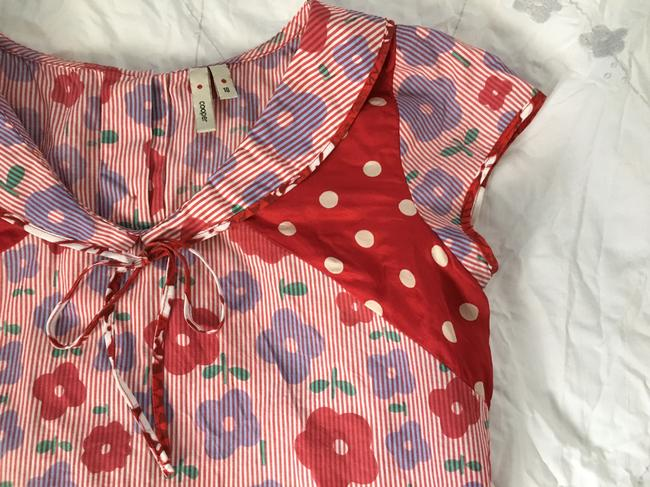 COOPER Never Worn Unique Floral Print Retro-style Top Red Image 2