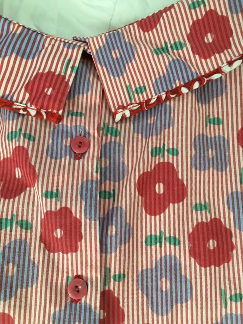 COOPER Never Worn Unique Floral Print Retro-style Top Red Image 4
