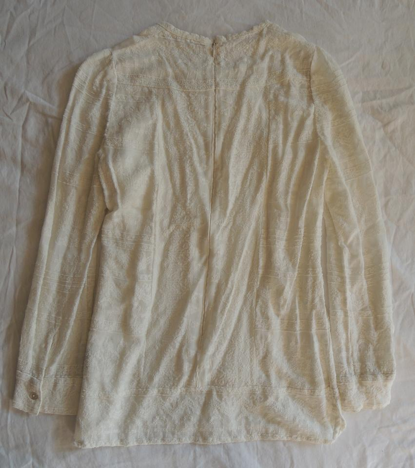 d57e09ec02 Isabel Marant Ivory Tess Embroidered Gauze Long Sleeve Blouse Size 4 ...
