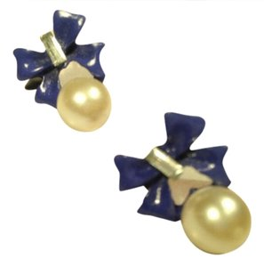 Other Blue Bows & Pearls Earrings NWT