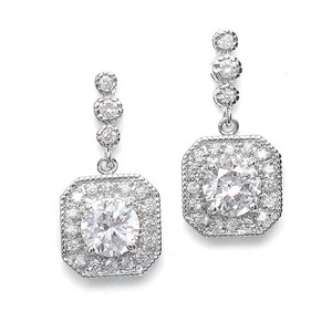 Silver/Rhodium Brilliant Crystals Art Deco Petite Earrings