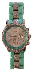 Charming Charlie Rhinestone studded Green watch