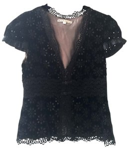 Nanette Lepore Lace Trim V-neck Short-sleeve Top Black