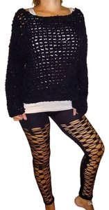 Fishnet Jeggings Pants Halloween Black Leggings