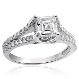 Avital & Co Jewelry 1.35 Carat H-vs2 Asscher Cut Diamond Engagement Ring 14k White Gold
