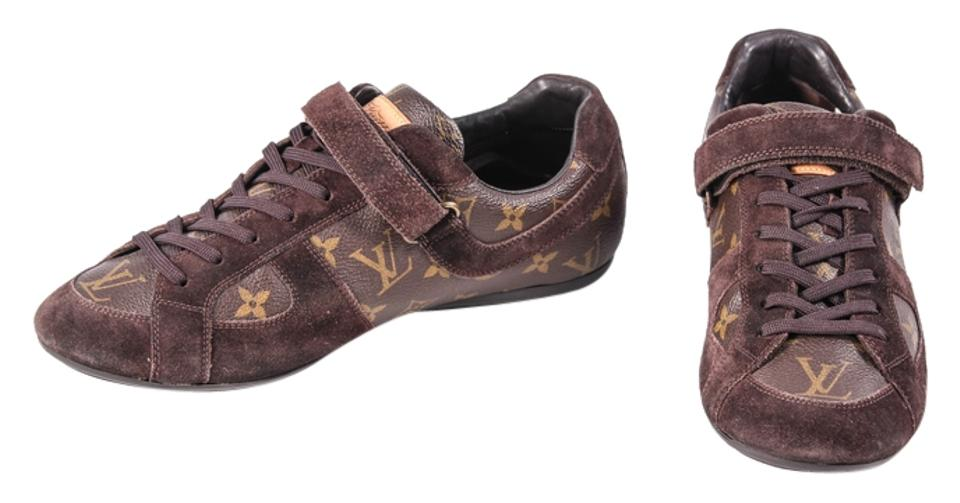 0a176482098f4 Louis Vuitton Gold Leather Suede Monogram Sneakers Brown Athletic Image 0  ...