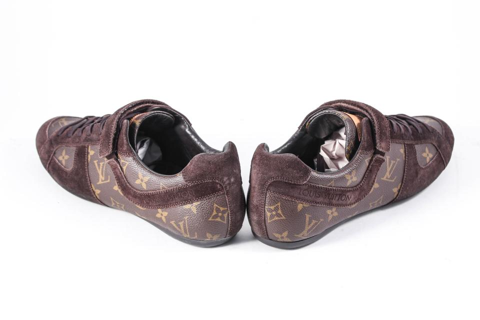 efee1ff6674c0 Louis Vuitton Gold Leather Suede Monogram Sneakers Brown Athletic Image 5.  123456