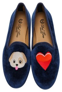 Del Toro Smoking Slippers Loafers Puppy Navy Blue Flats