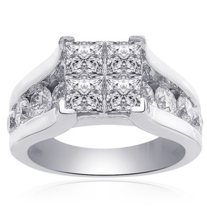 Avital & Co Jewelry 3.00 Carat Invisible Princess Cut Quad Diamond Engagement Ring 14k White Gold
