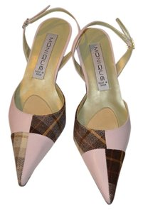 Other Slingback Brown Plaid Tweed Pink Pumps