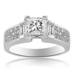 Avital & Co Jewelry 1.30 Carat H-si1 Natural Princess Cut Diamond Engagement Ring 14k White Gold