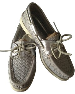 Sperry Boatshoe Topsider Woven Leather Gray and Silver Flats