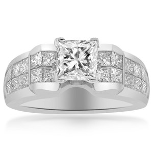 Avital & Co Jewelry 2.45 Carat H-vvs2 Natural Princess Cut Diamond Engagement Ring 18k White Gold