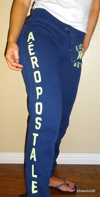 Aéropostale Fintess Beach Yoga Athletic Pants Navy Blue Green Image 4