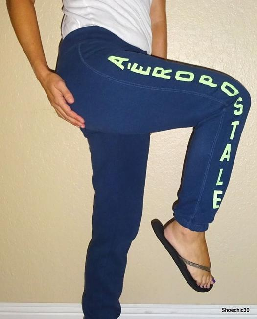 Aéropostale Fintess Beach Yoga Athletic Pants Navy Blue Green Image 8