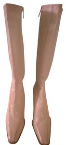 Valerie Stevens Soft Leather Rubber Sole Side Zipper Like New Knee High Beige Boots