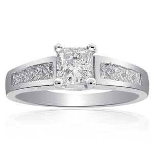 Avital & Co Jewelry 1.25 Carat F-si2 Natural Princess Cut Diamond Engagement Ring 14k White Gold