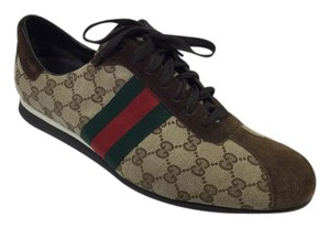 Gucci Canvas/suede Lace Up Monogram Mens Sneakers Brown Athletic