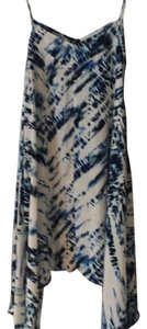 Cream with dark blue and light blue accents Maxi Dress by Aqua Dresses
