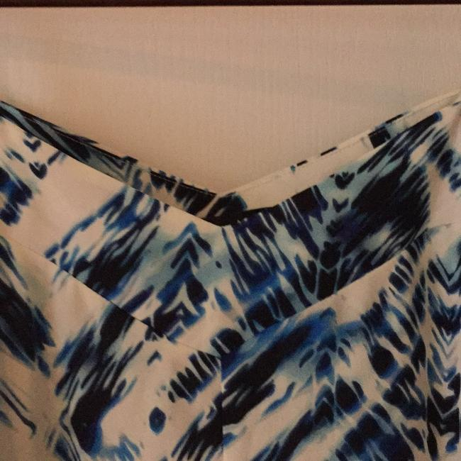 Cream with dark blue and light blue accents Maxi Dress by Aqua Dresses Image 2
