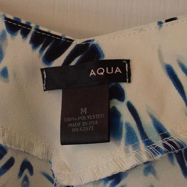 Cream with dark blue and light blue accents Maxi Dress by Aqua Dresses Image 3