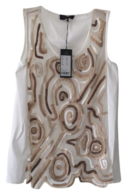 Preload https://img-static.tradesy.com/item/13592875/piazza-sempione-white-with-beige-and-brown-tank-topcami-size-6-s-0-1-650-650.jpg