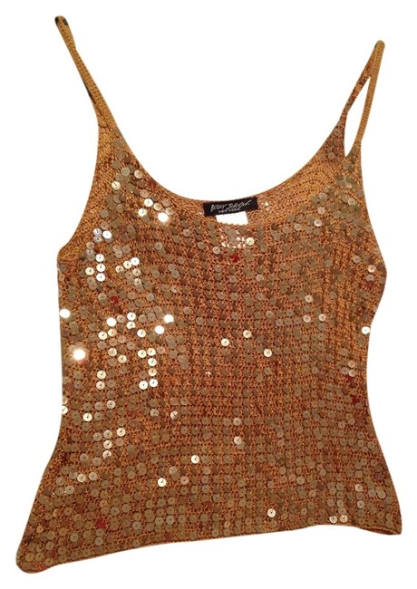 Betsey Johnson Sequin Sexy Designer Rayon Top Gold