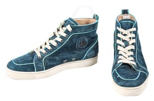 Christian Louboutin Suede Metallic Leather High Tops Mens Sneakers Teal Athletic