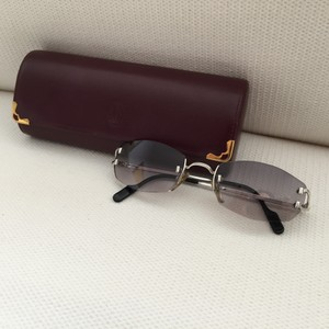 Cartier CARTIER Platinum-Gold Sunglasses Capri Rimless Platine Authentic Platinum-Gold