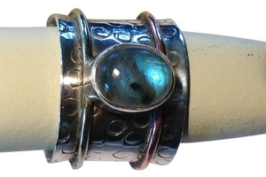 Sterling Silver, Jasper, and Copper Band Ring Size 7