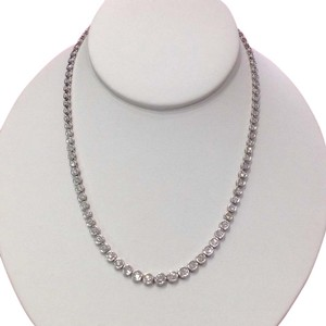 Other Platinum Graduated Diamond Tennis Necklace