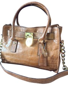 Michael Kors Crocodile Embossed Excellent Condition Gold Accents Satchel in Luggage
