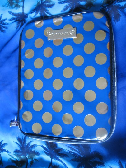 Betsey Johnson Betsey Johnson Women's BLUE DISCO DOT Zip Around iPad Case NEW