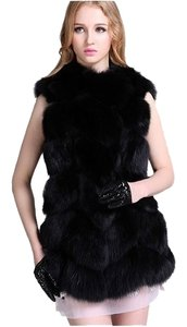 thick faux fur black coat Animal Jacket Vest