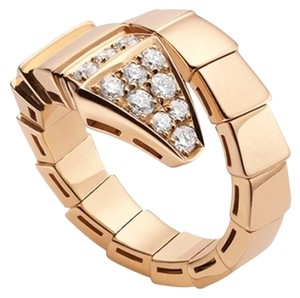 BVLGARI BVLGARI SERPENTI 18K ROSE GOLD DIAMOND RING AN855318 LARGE