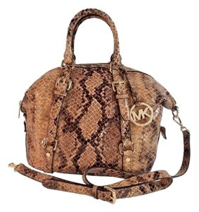 Michael Kors Peython Satchel in Natural Sand