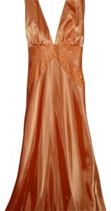 Morgan & Co Melon Sequin Plunge Prom Glam Dress
