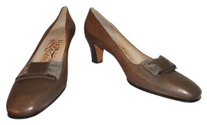 Salvatore Ferragamo Taupe Brown Pumps