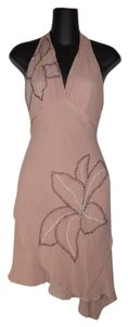 BCBGMAXAZRIA Cocktail Halter Embroidered Floral Silk Dress