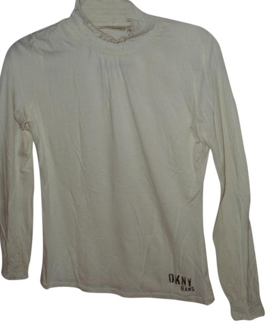 DKNY Shirred Turtleneck Designer Silver Off White White Neutral Long Sleeve Tee Shirt Small Cotton Modal Cuffs Sweater