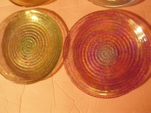 4 Beautiful Iridescent Multi Colored Glass Candle Holder Trinket Holder Coaster Crystal Candy Dish